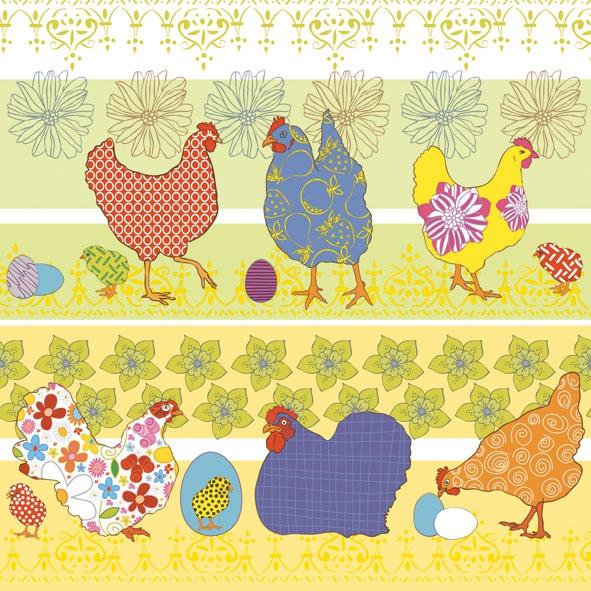 20 Servietten - 33 x 33 cm ,  Ostern - Huhn / Hahn,  Ostern - Ostereier,  Everyday,  lunchservietten,  Eier,  Huhn