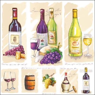 Lunch Servietten VINTAGE WINE,  Getränke - Wein / Sekt,  Früchte - Weintrauben,  Everyday,  lunchservietten,  Rotwein,  Weißwein,  Weintrauben