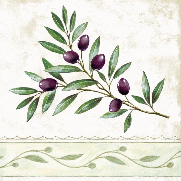 20 Servietten - 33 x 33 cm ,  Regionen - Mediteran,  Früchte - Oliven,  Everyday,  lunchservietten