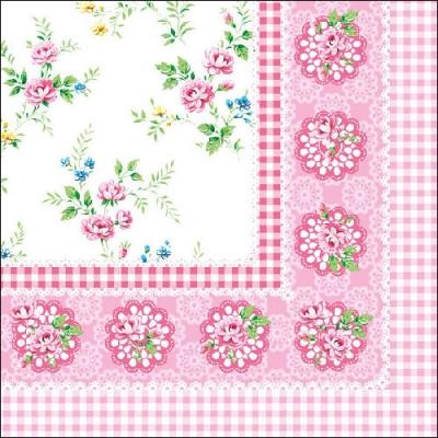 20 Servietten - 33 x 33 cm ,  Blumen - Rosen,  Everyday,  lunchservietten