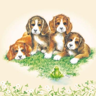 Servietten / Hunde,  Tiere - Hunde,  Tiere - Frösche,  Regionen - Wald / Wiesen,  Everyday,  lunchservietten