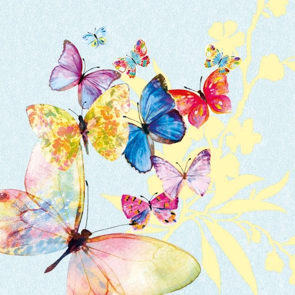 Servietten / Schmetterlinge,  Tiere - Schmetterlinge,  Blumen -  Sonstige,  Everyday,  lunchservietten