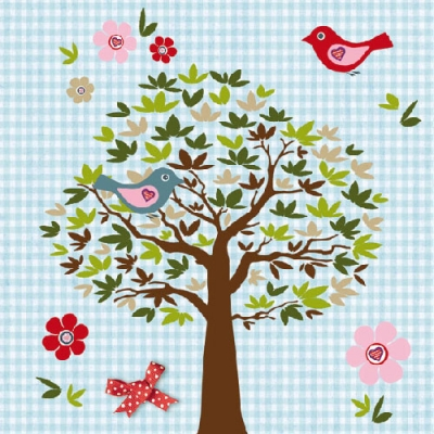 Lunch Servietten Birds Tree blue