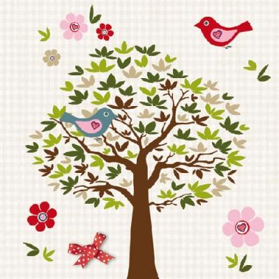 Ambiente,  Tiere - Vögel,  Pflanzen -  Sonstige,  Blumen -  Sonstige,  Everyday,  lunchservietten,  Baum