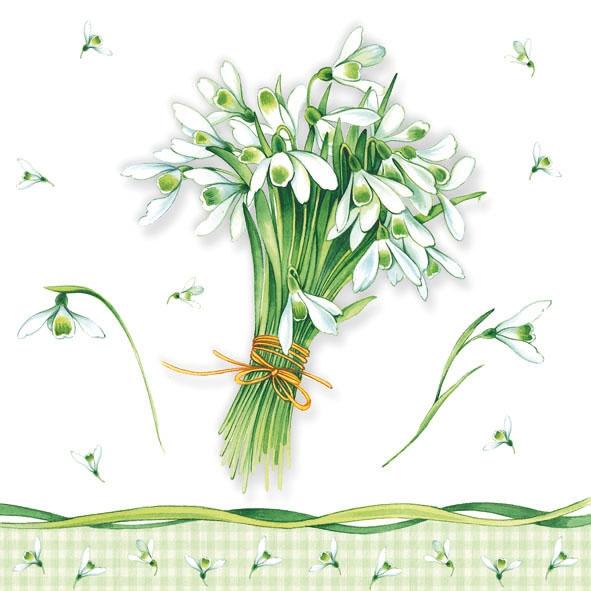 Servietten 25 x 25 cm,  Blumen -  Sonstige,  Blumen,  Everyday,  lunchservietten,  Schneeglöckchen