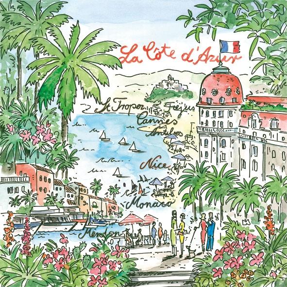 Lunch Servietten Cote d Azur,  Regionen - Länder - Flaggen,  Regionen - Länder - Frankreich,  Everyday,  lunchservietten