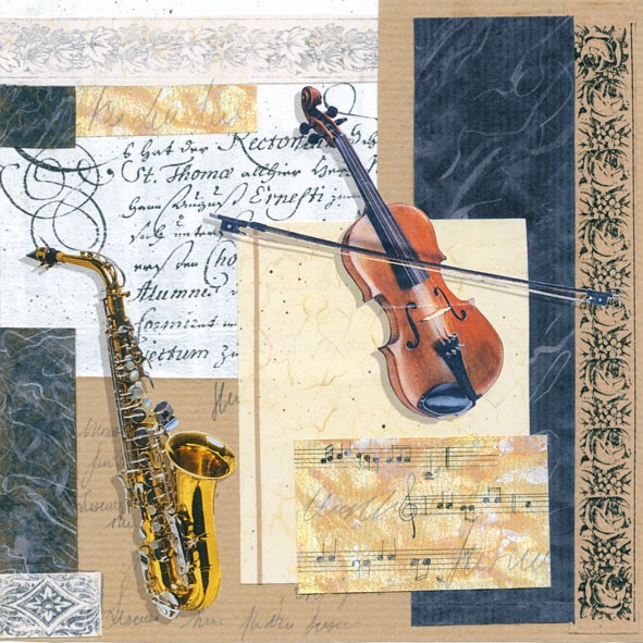 Lunch Servietten MUSIC,  Sonstiges - Musik,  Everyday,  lunchservietten,  Geige,  Saxophon