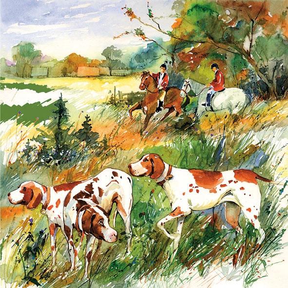 Lunch Servietten HUNTING,  Sport - Reiten,  Tiere - Pferde,  Tiere - Hunde,  Everyday,  lunchservietten,  Hunde,  Pferde,  Menschen,  Reiten