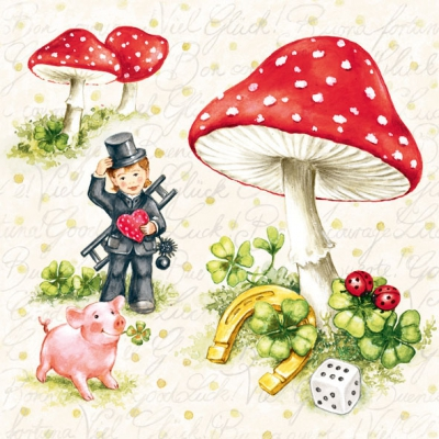 Servietten / Menschen,  Menschen - Personen,  Pflanzen - Klee,  Früchte - Pilze,  Everyday,  lunchservietten,  Pilze,  Klee,  Menschen,  Marienkäfer