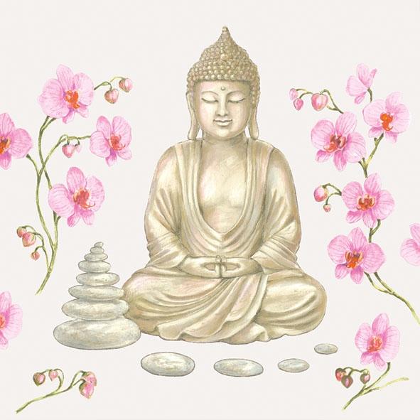 Servietten nach Regionen,  Regionen - Asien,  Blumen -  Sonstige,  Everyday,  lunchservietten,  Buddha