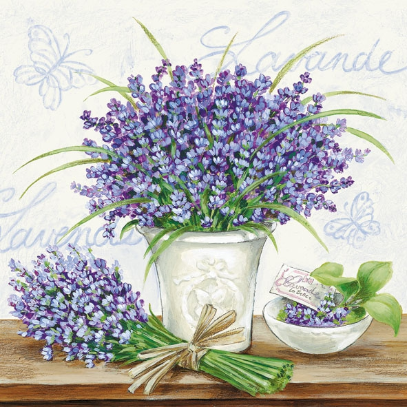 Lunch Servietten LAVENDER SCENE CREAM,  Blumen - Lavendel,  Everyday,  lunchservietten,  Lavendel