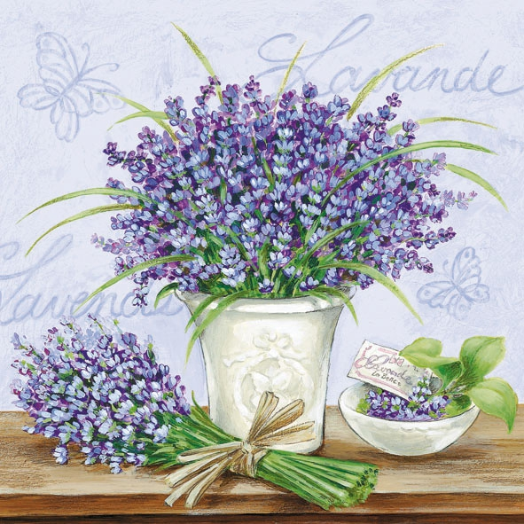 Servietten / Schmetterlinge,  Blumen - Lavendel,  Everyday,  lunchservietten,  Lavendel