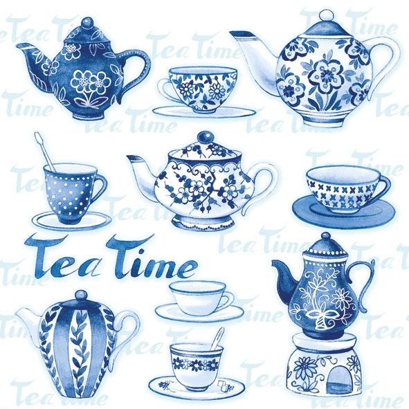 Servietten / Kaffee - Tee,  Getränke Kaffee / Tee,  Sonstiges - Porzellanmotive,  Everyday,  lunchservietten,  Teetasse,  Tee,  Teekanne