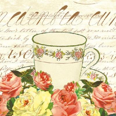 Lunch Servietten VICTORIAN ROSE,  Sonstiges - Porzellanmotive,  Blumen - Rosen,  Everyday,  lunchservietten,  Tasse,  Rosen