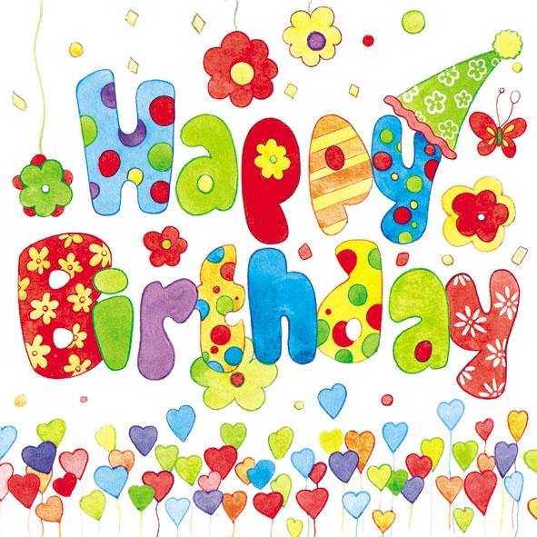 Lunch Servietten HAPPY BIRTHDAY,  Sonstiges - Schriften,  Ereignisse - Feier,  Ereignisse - Geburtstag,  Everyday,  lunchservietten,  Geburtstag,  Herz,  Party