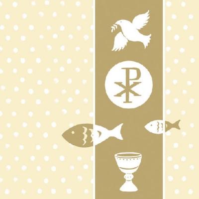 Servietten nach Ereignissen,  Ereignisse - Kommunion,  Everyday,  lunchservietten,  Kommunion,  Konfirmation,  Fische,  Kelch,  Tauben