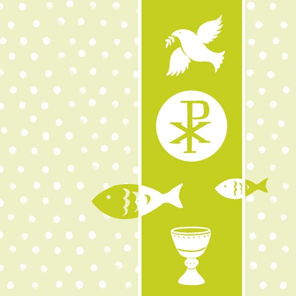 Ambiente,  Ereignisse - Kommunion,  Everyday,  lunchservietten,  Kommunion,  Konfirmation,  Fische,  Kelch,  Tauben