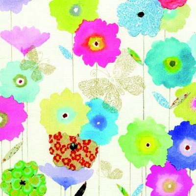 Lunch Servietten BUTTERFLY GARDEN CREAM,  Tiere - Schmetterlinge,  Blumen -  Sonstige,  Everyday,  lunchservietten,  Blumen,  Schmetterlinge