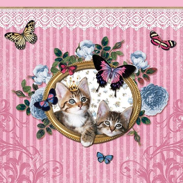 Lunch Servietten ROYAL CATS ,  Tiere - Schmetterlinge,  Tiere - Katzen,  Everyday,  lunchservietten,  Katzen,  Schmetterlinge