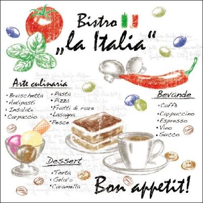 Lunch Servietten LA ITALIA ,  Essen -  Sonstiges,  Regionen - Länder - Italien,  Everyday,  lunchservietten,  Kuchen,  Kaffee