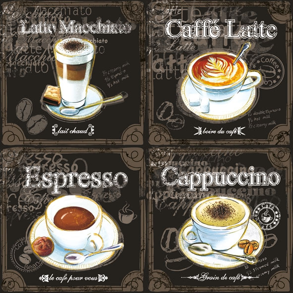 Servietten 25 x 25 cm,  Sonstiges - Schriften,  Getränke Kaffee / Tee,  Everyday,  lunchservietten,  Schriften,  Kaffee