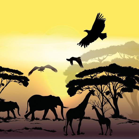 Servietten nach Regionen, Tiere - Elefanten,  Tiere - Vögel,  Tiere - Giraffen,  Regionen - Afrika,  Everyday,  lunchservietten,  Afrika,  Giraffe,  Elefant,  Vögel,  Bäume
