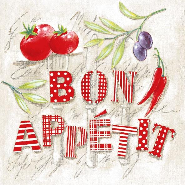 Lunch Servietten BON APPETIT ,  Früchte - Oliven,  Gemüse - Tomaten,  Sonstiges - Schriften,  Everyday,  lunchservietten,  Oliven,  Tomaten,  Schriften