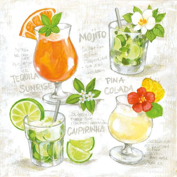 Lunch Servietten Four Cocktails,  Sonstiges - Schriften,  Getränke - Coctails,  Everyday,  lunchservietten,  Cocktails,  Früchte,  Zitronen,  Schriften