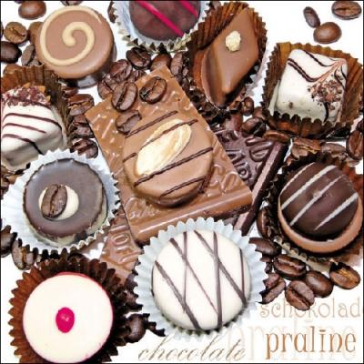 Lunch Servietten FINE CHOCOLATE ,  Essen - Pralinen / Schokolade,  Everyday,  lunchservietten,  Pralinen