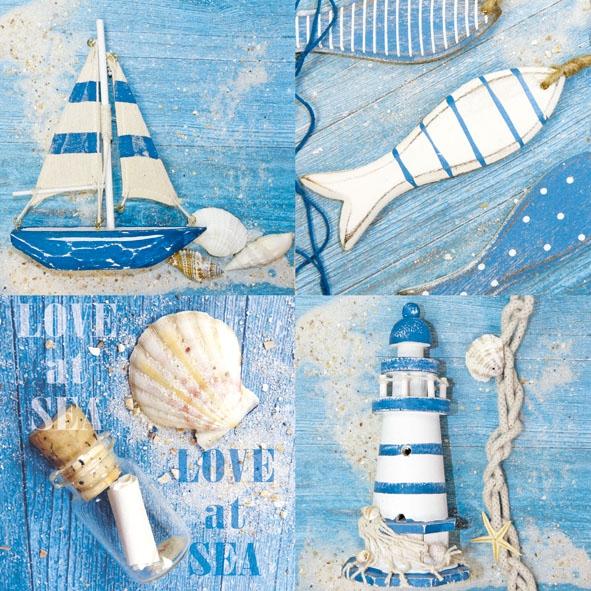 Lunch Servietten LOVE AT SEA ,  Regionen - Strand / Meer - Schiffe,  Regionen - Strand / Meer - Muscheln,  Regionen - Strand / Meer - Leuchttürme,  Everyday,  lunchservietten,  Fische,  Schiff,  Muscheln