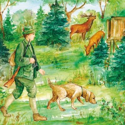 Servietten nach Motiven,  Pflanzen -  Sonstige,  Tiere - Hunde,  Menschen - Personen,  Everyday,  lunchservietten,  Bäume,  Jagd,  Hirsch,  Hunde