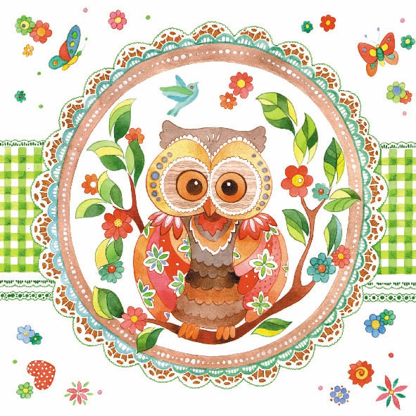 Lunch Servietten SIGNED OWL ,  Tiere -  Sonstige,  Everyday,  lunchservietten,  Eulen
