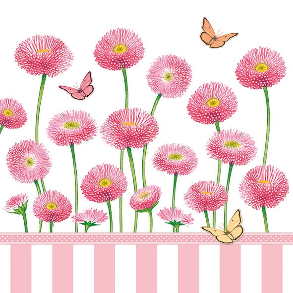 Servietten / Sonstige Blumen,  Tiere - Schmetterlinge,  Blumen -  Sonstige,  Everyday,  lunchservietten,  Schmetterlinge,  Blumen