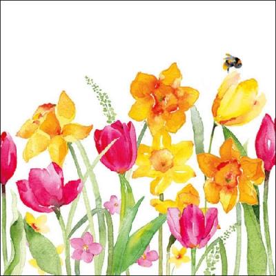 Lunch Servietten AQUARELL SPRINGFLOWERS,  Blumen - Tulpen,  Blumen - Osterglocken,  Everyday,  lunchservietten,  Narzissen,  Tulpen
