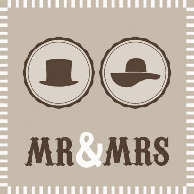 Lunch Servietten MR & MRS SAND ,  Ereignisse - Hochzeit,  Sonstiges - Schriften,  Everyday,  lunchservietten,  Hochzeit,  Schriften,  Hut