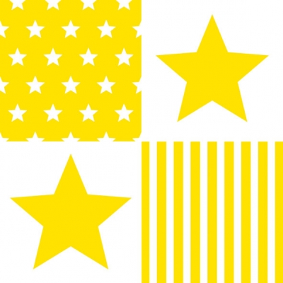 Lunch Servietten STAR STRIPES YELLOW ,  Sonstiges - Muster,  Everyday,  lunchservietten,  Sterne,  Streifen,  Linien,  gelb