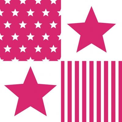 Lunch Servietten STAR STRIPES MAGENTA ,  Sonstiges - Muster,  Everyday,  lunchservietten,  Sterne,  Streifen,  Linien