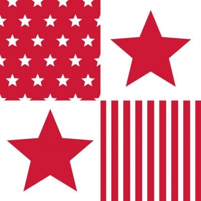 Servietten / Linien, Vierecke, Kreise,  Sonstiges - Muster,  Everyday,  lunchservietten,  Sterne,  Streifen,  Linien,  rot