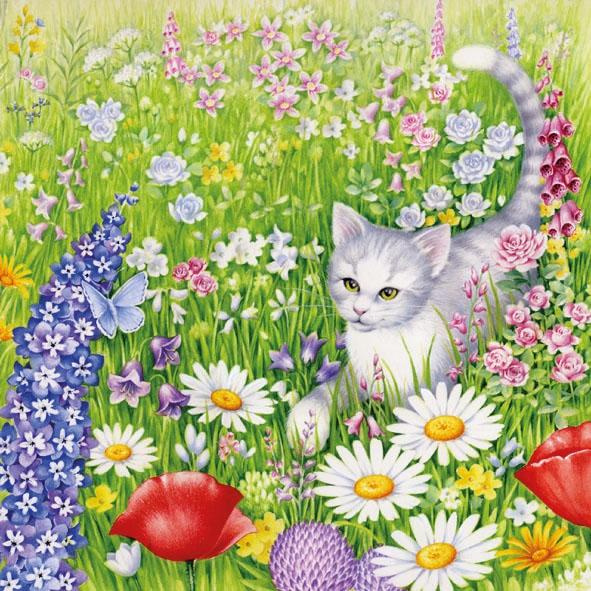 Servietten / Mohn,  Tiere - Katzen,  Regionen - Wald / Wiesen,  Sommer,  lunchservietten,  Wiese,  Katzen
