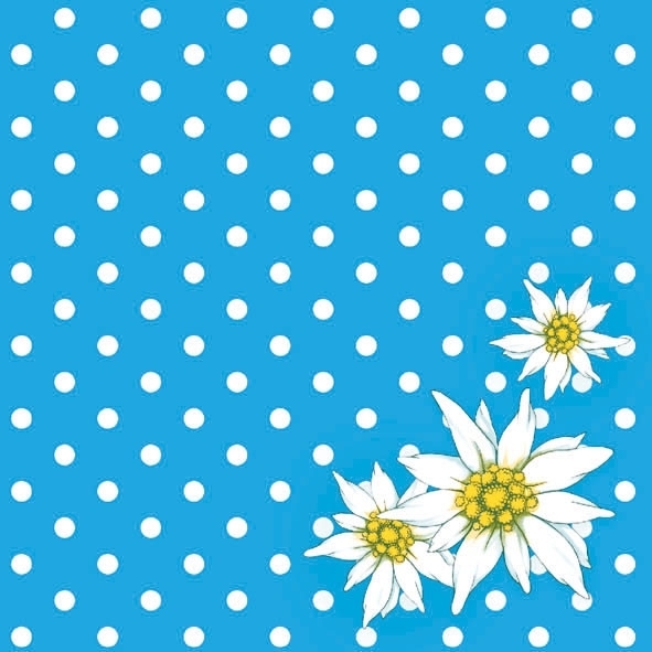 Lunch Servietten Edelweiss Dots Blue,  Blumen -  Sonstige,  Everyday,  lunchservietten,  Blumen,  Punkte