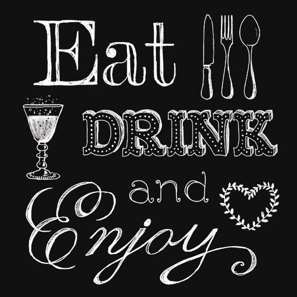 Lunch Servietten Eat, Drink Black,  Sonstiges - Schriften,  Getränke -  Sonstige,  Essen -  Sonstiges,  Everyday,  lunchservietten,  Schriften