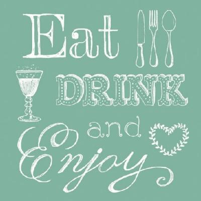 Lunch Servietten Eat, Drink Green,  Sonstiges - Schriften,  Getränke -  Sonstige,  Essen -  Sonstiges,  Everyday,  lunchservietten,  Schriften