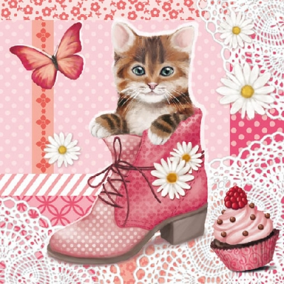 Lunch Servietten Cat In Shoe,  Tiere - Katzen,  Everyday,  lunchservietten,  Katzen,  Schuhe