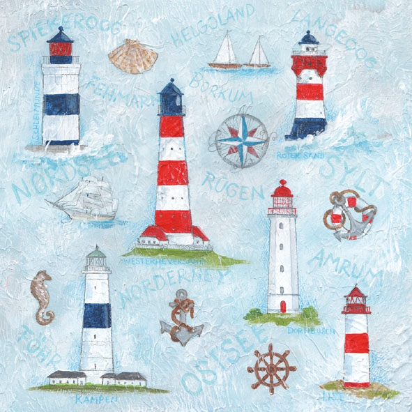 Lunch Servietten Maritime Ornaments,  Regionen - Strand / Meer - Schiffe,  Regionen - Strand / Meer - Leuchttürme,  Everyday,  lunchservietten,  Anker,  Meer,  Leuchtturm,  Schiff