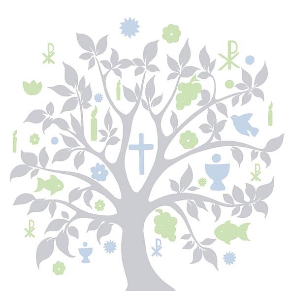 Servietten nach Jahreszeiten,  Früchte - Weintrauben,  Ereignisse - Kommunion,  Everyday,  lunchservietten,  Kreuz,  Weintrauben,  Bäume