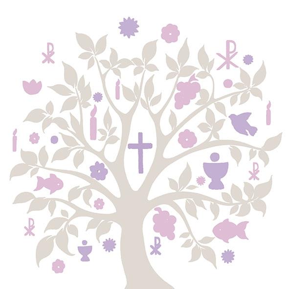 Lunch Servietten Communion Symbols Taupe,  Früchte - Weintrauben,  Ereignisse - Kommunion,  Everyday,  lunchservietten,  Kreuz,  Weintrauben,  Bäume