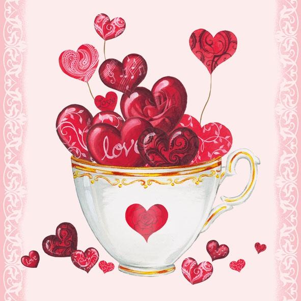 Lunch Servietten Cup of Hearts