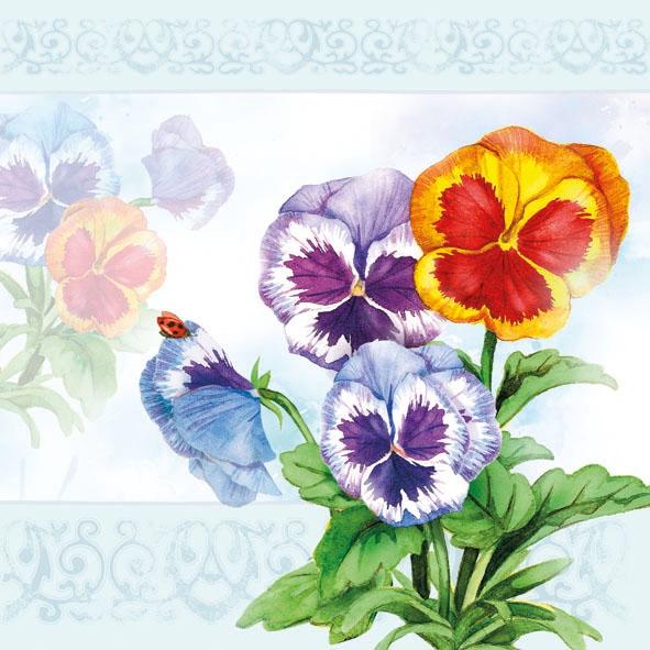 Porzellan,  Blumen - Stiefmütterchen,  Sommer,  lunchservietten,  Stiefmütterchen
