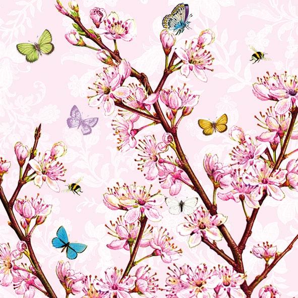 Frühjahr / Ostern,  Tiere - Schmetterlinge,  Blumen -  Sonstige,  Everyday,  lunchservietten,  Blüten,  Schmetterlinge