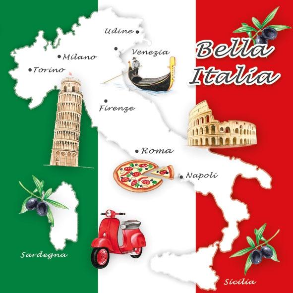 Lunch Servietten Bella Italia,  Fahrzeuge - Moped / Motorrad,  Früchte - Oliven,  Regionen - Länder - Italien,  Everyday,  lunchservietten,  Oliven,  Boote,  Italien,  Pizza
